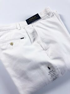 Polo-Ralph-Lauren-Homme-Pantalon-Chino-Blanc-Classic-Fit-Brosse-Serge