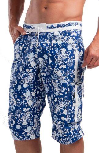Geronimo Da Uomo Nuoto Shorts Cargo Pantaloncini Floreali Nuoto Mindo blu con fiori