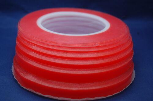 Ultra Fuerte Rojo Cinta Adhesiva Doble Cara Transparente para Móviles, Bricolaj