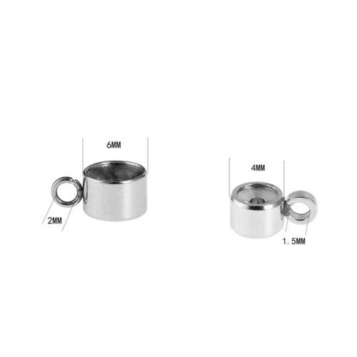 LP 10 Edelstahl Zylinder Charms Anhänger für Strass Silberfarbe M5089