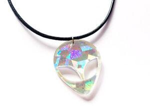 90s-HOLOGRAPHIC-ALIEN-Acrylic-Pendant-Choker-Necklace