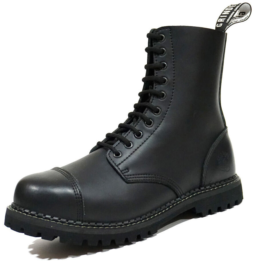 Grinders para hombre para mujer Stag CS Derby Negro Puntera 10 Ojal botas de uniforme de combate