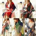 Womens Winter Warm Wool Scarf Plaid Checks Knit Long Scarf Wrap Oversized Shawl