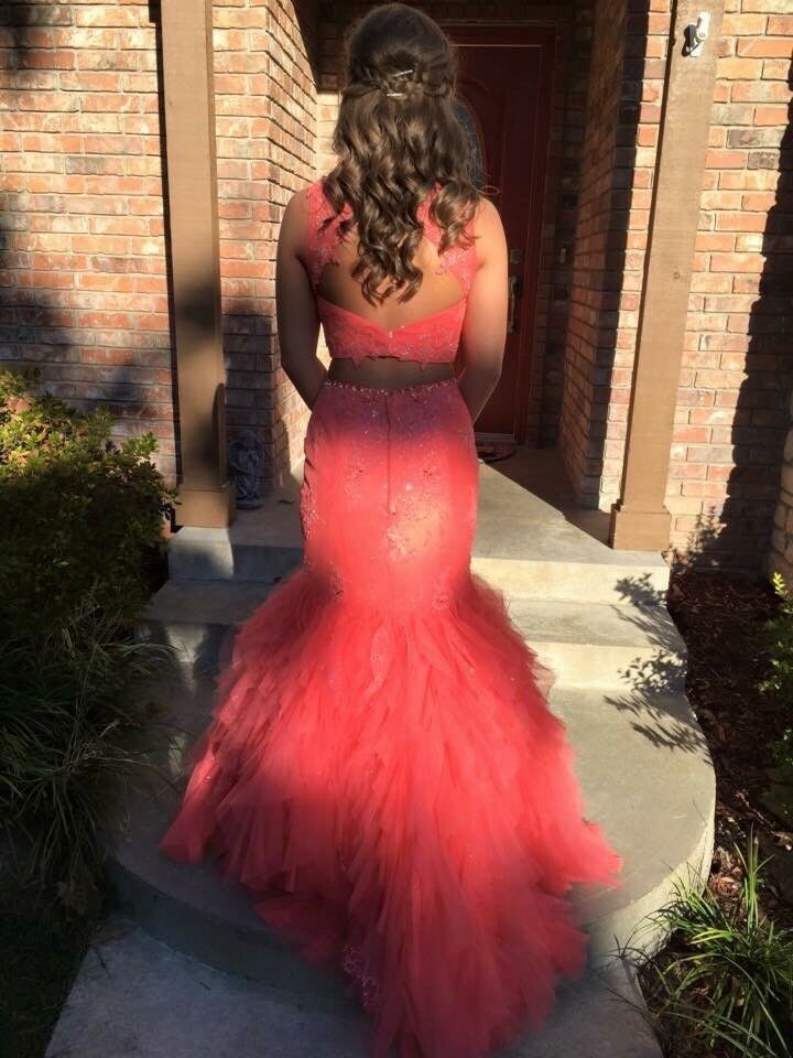 Coral prom dress in great condition  It's a Morilee by Madeline Gardner dress.
