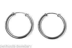 Image Is Loading 9ct White Gold 18mm Hoop Sleeper Earrings Gift