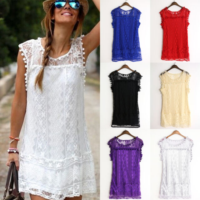Womens Sleeveless Lace Crochet Casual Party Evening Cocktail Short Mini Dress