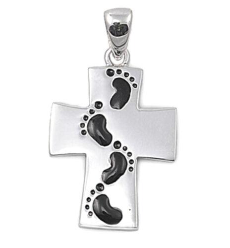 USA Seller Baby Footprints Cross Pendant Sterling Silver 925 Best Deal Jewelry