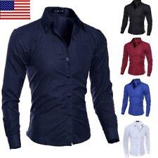 US Fashion Mens Luxury Casual Stylish Slim Fit Long Sleeve Casual Dress Shirts