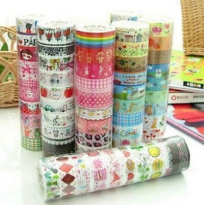 Bulk 10Pcs/1.5cm*3 M Sticky Adhesive Sticker Decorative Washi Tape Colorful DIY