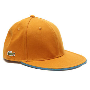 5f9f4cb53 Lacoste Mens L!VE RK0450 Flat Brim Hat Cap Orange Size L 59cm. 100 ...