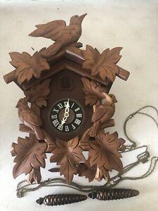 Vintage Wooden Schneider Sohne Cuckoo Clock W Germany w Pinecone Weights