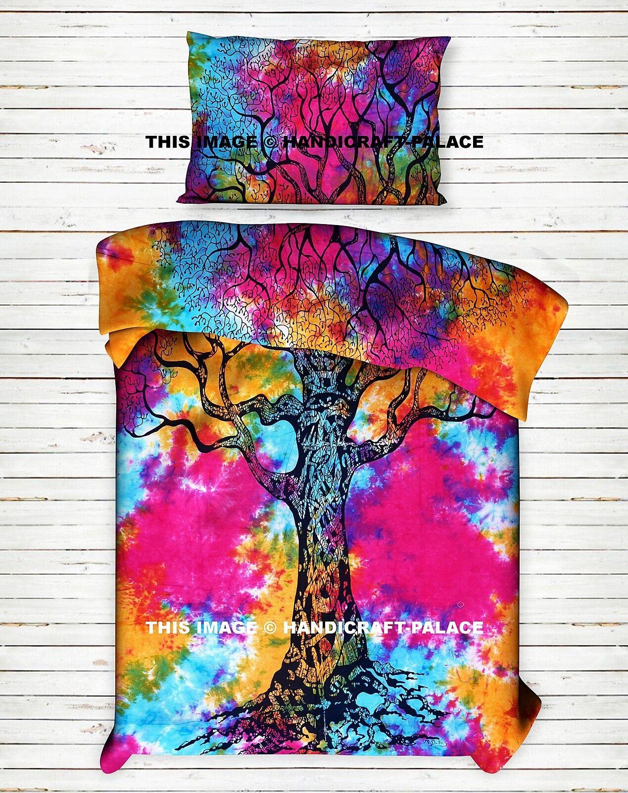 Tree Of Life Reversible Duvet Doona Cover Indian Bohemian Tie Dye Quilt Throw