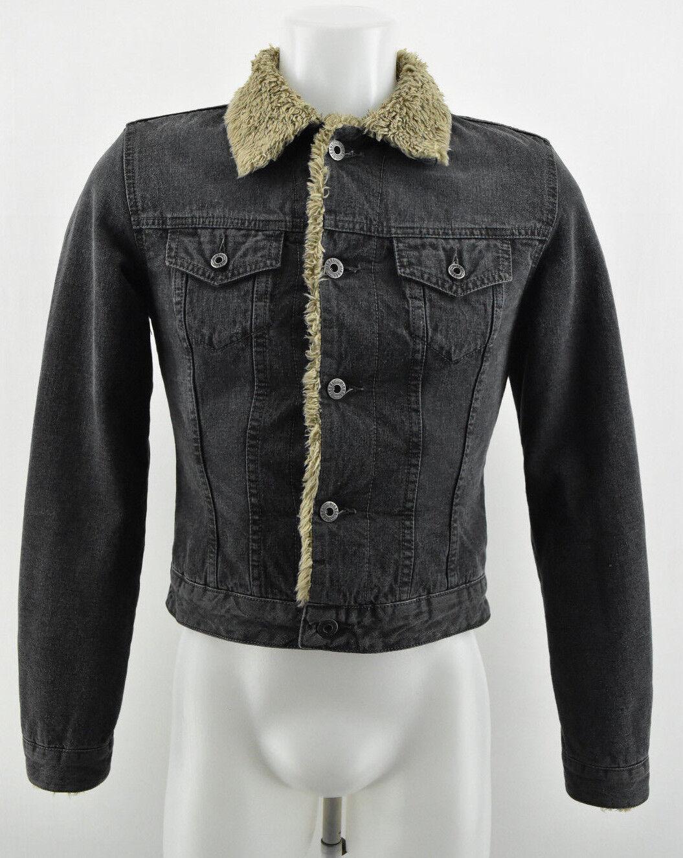 Chaqueta de mujer DIESEL Forro exterior con calefacción Abrigo con cuello negro Tamaño S