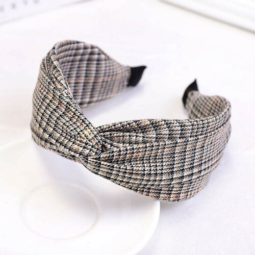 Plaid Cross Headband Fashion Wide-brimmed Women Hairband Hair Accessories