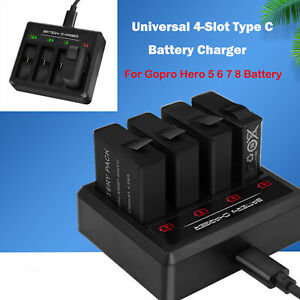 Fuer-Gopro-Hero-5-6-7-8-Batterieladegeraet-4-SteckplaetzenTyp-C-Batterieladestation