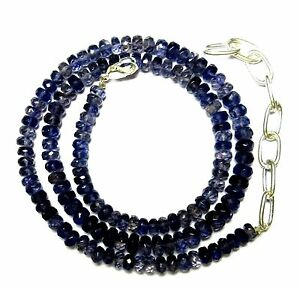 """Natural Iolite Loose Gemstone 4-4.5 mm Rondelle Faceted Beads 19.5"""" NECKLACE S65"""