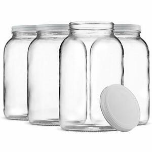 1-Gallon-Glass-Jar-Wide-Mouth-with-Airtight-Metal-Lid-Clear-4-Pack