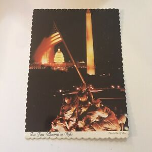 Older-Postcard-Iwo-Jima-Memorial-At-Night-USMC-War-Memorial-Arlington-VA
