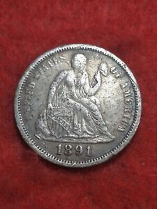 1891 Silver Seated Liberty Dime #44