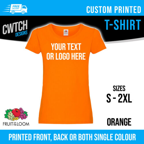 Printed T Shirt Fruit of the Loom Personalised Custom T-Shirt Lady Fit Hen Tee