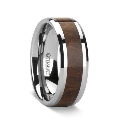 Black Ceramic Wedding Ring with Real Bubinga Wood Inlay and Polished Beveled Edges 8mm Band