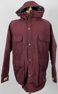 Woolrich-Vintage-USA-Wool-Lined-Zip-Hooded-Parka-Jacket-Burgundy-Mens-Large-80-039-s