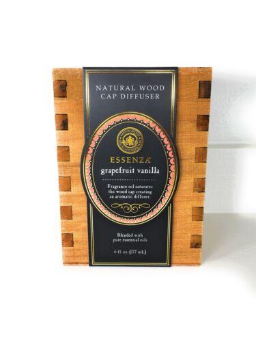 ESSENZA GRAPEFRUIT VANILLA ESSENTIAL OILS NATURAL WOOD CAP DIFFUSER GIFT BOX SET