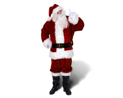 PROFESSIONAL DEEP RED RICH PLUSH VELOUR CHRISTMAS XMAS COSTUME SANTA CLAUS SUIT