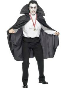 Vampiro Carnevale Halloween Dracula 840 MANTELLO NERO CON BAVERO ALTO 114 cm
