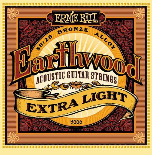 Ernie Ball 2006 Earthwood Bronze Extra Light Acoustic Guitar Strings 10-50 6 Set