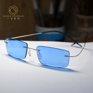 Titanium Sunglasses mens womens eyeglasses gold glasses with SkyBlue lenses