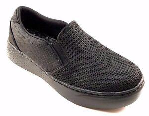 Skechers 12876 Black Round Toe Thick Bottom Memory Foam Slip On Loafer Sneakers