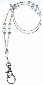 Crystal-Fashion-Women-039-s-Beaded-Lanyard-with-break-away-magnetic-clasp-34-inches
