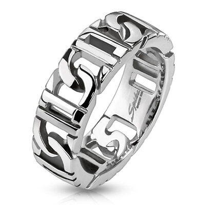 Stainless Steel D-Linked Chain Men's Ring Wedding Band