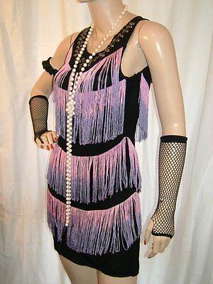 Instancabile Vintage E Borchie Nero, Viola E Rosa Frange Nappa 1920 Flapper Costume 14-mostra Il Titolo Originale