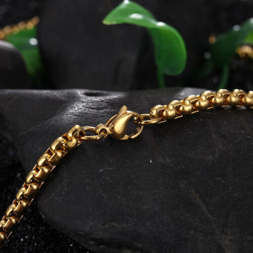 3 mm Homme Chaîne Pour Femme Unisexe or jaune rempli Gold Filled Box Link Collier 18-40 in