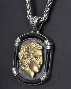 Konstantino-Mens-Apollo-Pendant-Necklace-Bronze-Leather-Sterling-Silver-Phidias