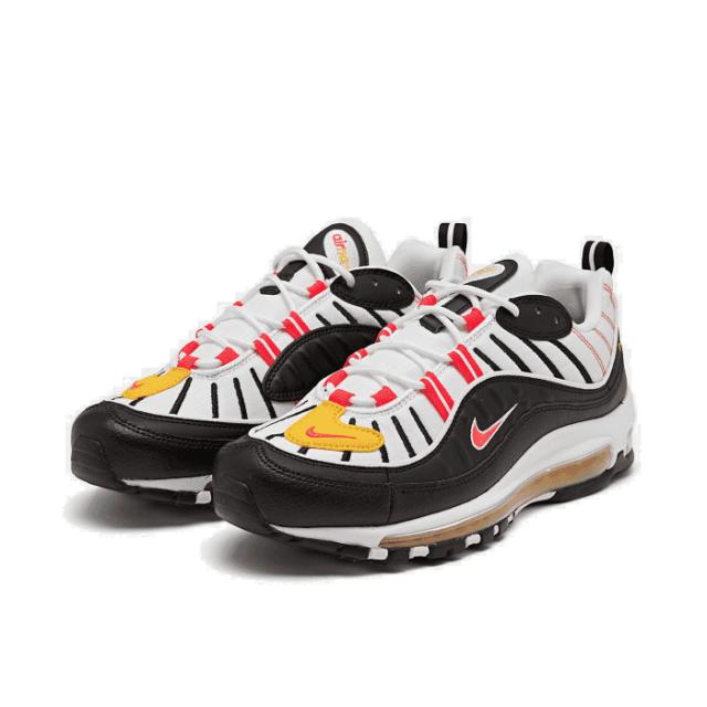 Nike Air Max 98 Casual Shoes Black Bright Crimson White 640744 016 Men's NEW