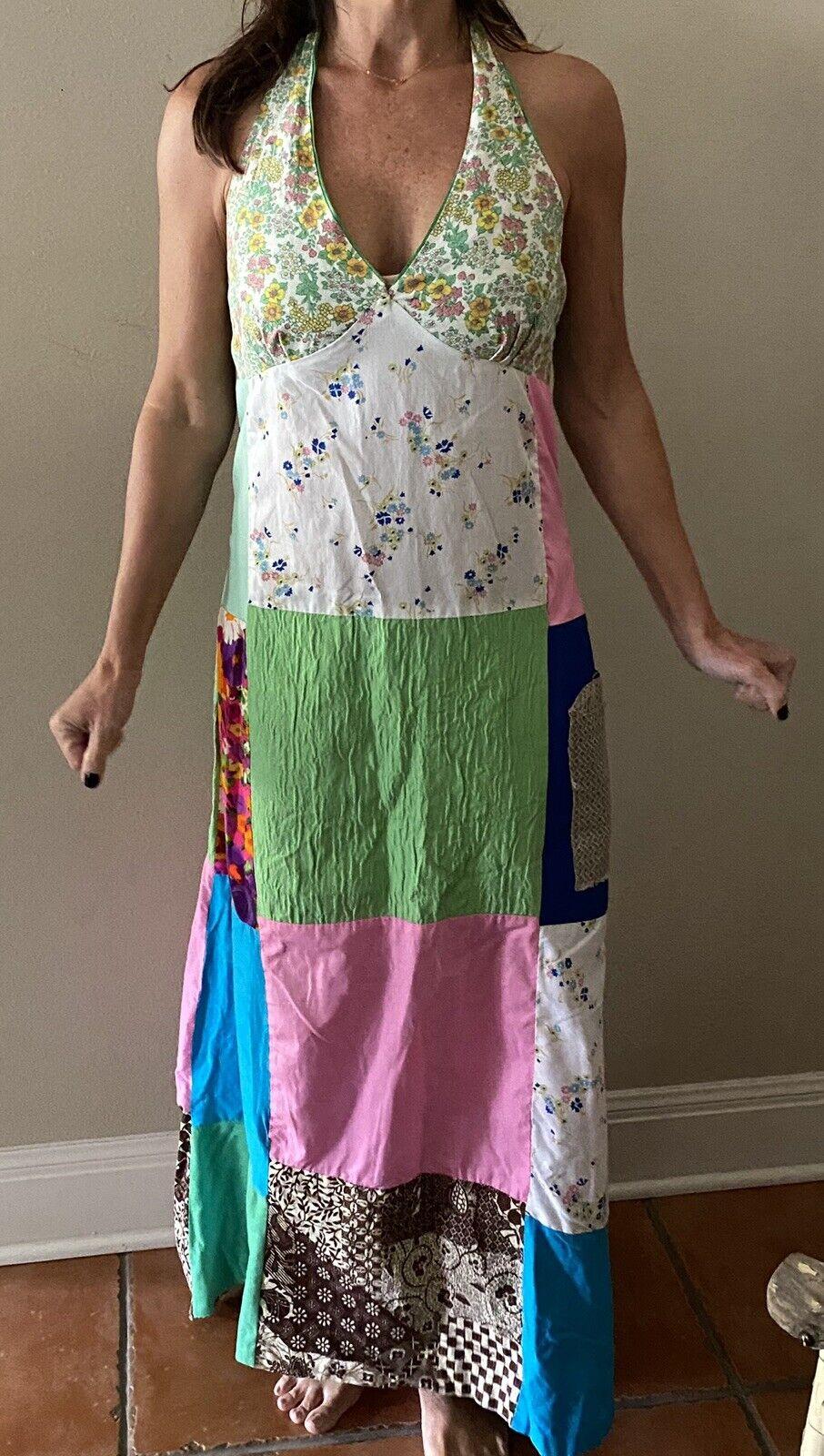 Vintage Handmade 60s Floral Patchwork Quilt Dress… - image 11