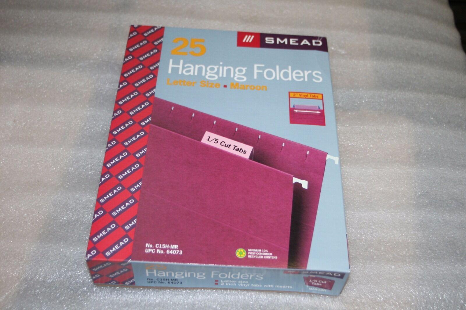 Smead hanging file folders 1 5 cut tab, letter size, Case of 250, Maroon