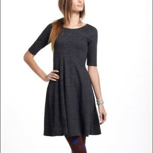 cecb2262 Image is loading Anthropologie-Ganni-Threaded-Trails-S-M-Swing-dress -Charcoal-