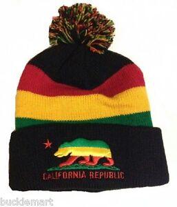 Rasta-CALIFORNIA-REPUBLIC-BEAR-Black-Winter-Cuff-Beanie-Hat-Pom-Reggae-Jamaican