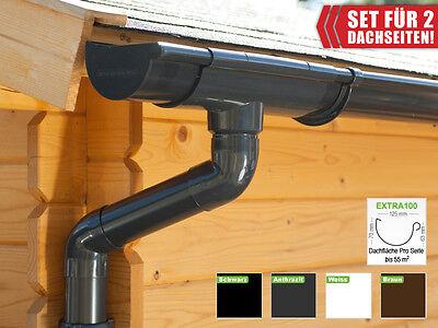 Satteldach Dachrinnenset In 4 Farben!   Extra100 regenrinnen 2 Dachseite