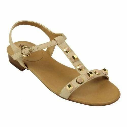 VANELi Blondy Nude Luxury gold Stones Nubuck Leather T-Strap Sandals 7.5 M NIB