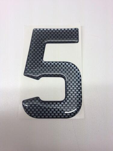 3D Gel Domed Digit Domed DIY Registration Reg Number Plate CARBON Letter 5