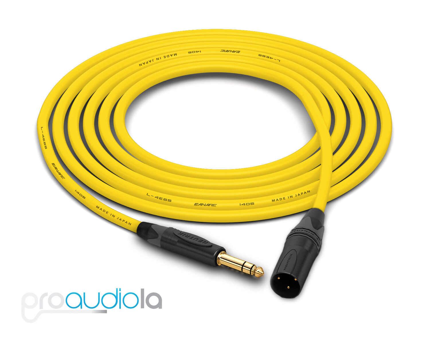 Canare Quad L-4E6S Cable   Neutrik Gold TRS XLR-M   Gelb 300 Feet   300 Ft.