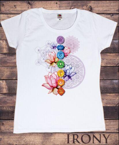 Women's T-shirt Chakra Symbols Lotus Geometric Spiritual Design Print TS1333