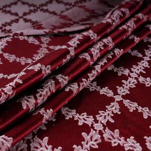 Tessuto-al-metro-per-arredamento-e-tendaggi-h-280-Raso-Rosso-Jacquard-Venezia