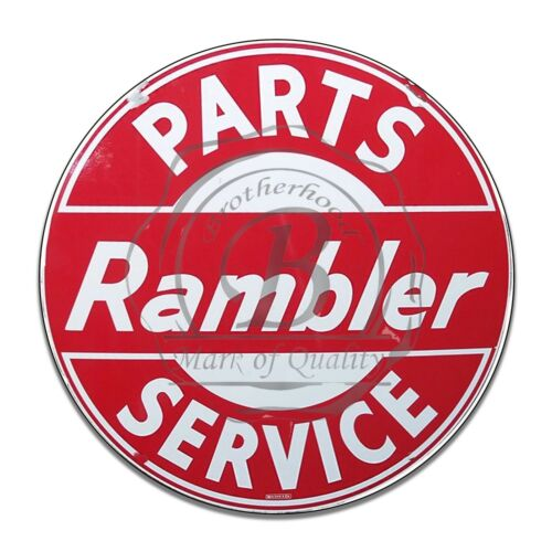 Rambler Parts And Service Red And White Reproduction Circle Aluminum Sign