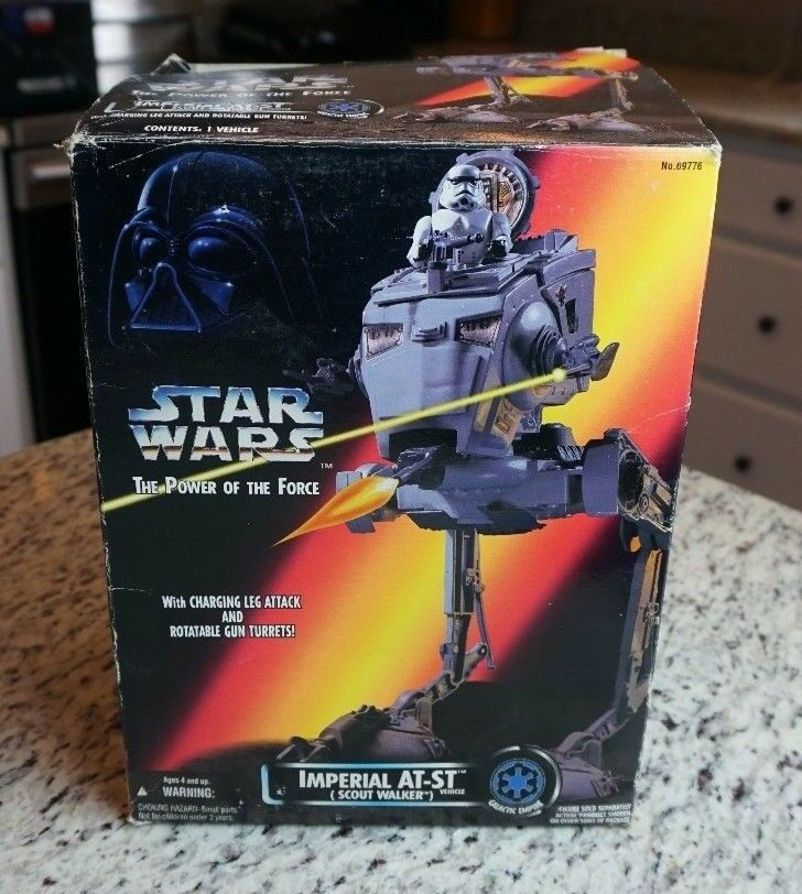 Imperial Imperial Imperial AT-ST Scout Walker 1995 STAR WARS Power of the Force POTF MIB 451aa2